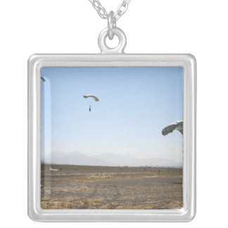 Freefall parachute jumpers square pendant necklace