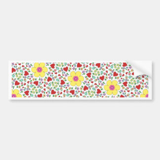 Freehand flowers and hearts bumper sticker