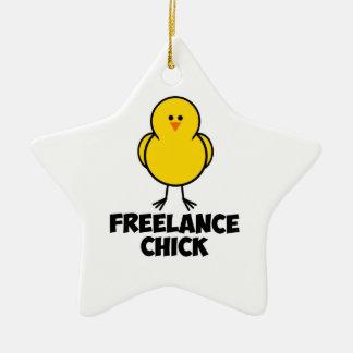 Freelance Chick Christmas Ornament