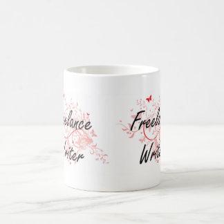 Freelance Writer Artistic Job Design with Butterfl Coffee Mug