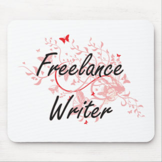 Freelance Writer Artistic Job Design with Butterfl Mouse Pad