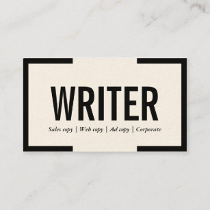 freelance writer bold text black border business card - Freelance Business Cards