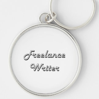 Freelance Writer Classic Job Design Silver-Colored Round Keychain