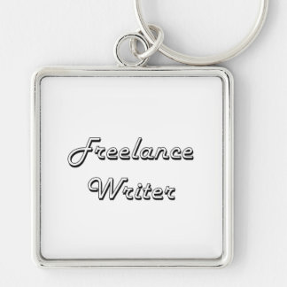 Freelance Writer Classic Job Design Silver-Colored Square Keychain