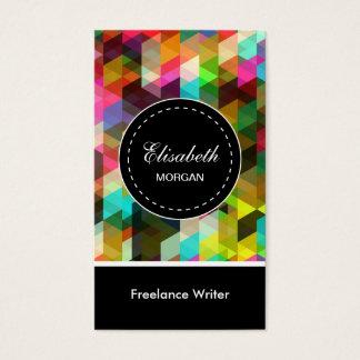 Freelance Writer- Colorful Mosaic Pattern Business Card