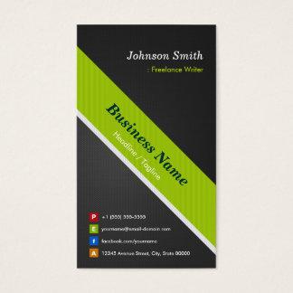 Freelance Writer - Premium Black and Green Business Card