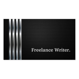 Freelance Writer Professional Black Silver Business Card Template