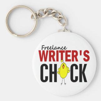Freelance Writer's Chick Basic Round Button Keychain