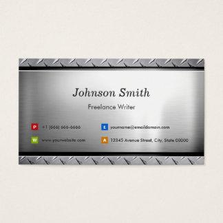 Freelance Writer - Stylish Platinum Look Business Card