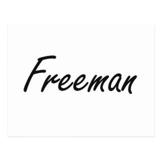 Freeman Artistic Name Design Postcard