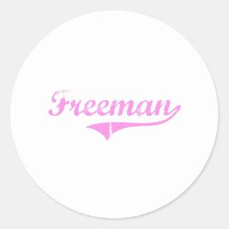 Freeman Last Name Classic Style Round Stickers