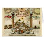 Freemason Masonic Emblematic Chart Greeting Cards