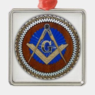 freemason NWO conspiracy square & compass Square Metal Christmas Ornament