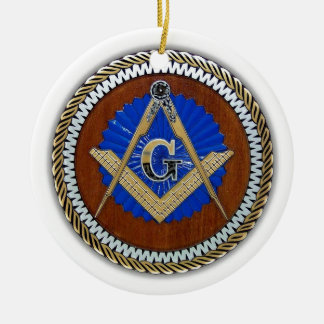 freemason NWO conspiracy square & compass Double-Sided Ceramic Round Christmas Ornament