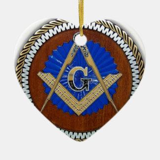 freemason NWO conspiracy square & compass Double-Sided Heart Ceramic Christmas Ornament