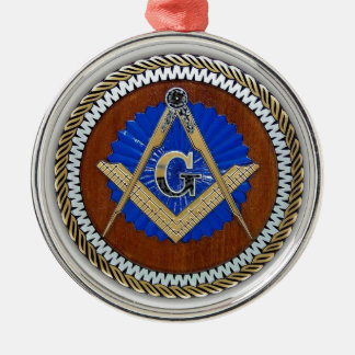 freemason NWO conspiracy square & compass Round Metal Christmas Ornament