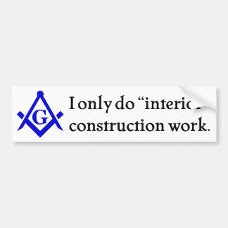 Freemasonry - construcción interior pegatina de parachoque