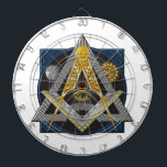 "Freemasonry Emblem Dartboard With Darts<br><div class=""desc"">Square,  Compass and All Seeing Eye</div>"