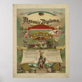 Freemasonry masónico 1891 del Freemason del diplom Poster