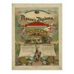 Freemasonry masónico 1891 del Freemason del diplom Tarjetas Postales