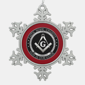 Freemasonry seal snowflake pewter christmas ornament