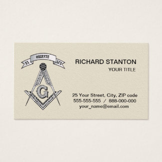 Freemasonry sign business card