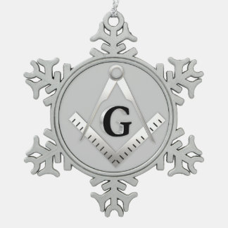 Freemasonry symbol snowflake pewter christmas ornament