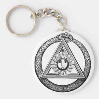 Freemasonry todo el símbolo masónico del ojo que v llavero redondo tipo pin