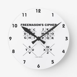 Freemason's Cipher (Cryptography) Round Wall Clocks