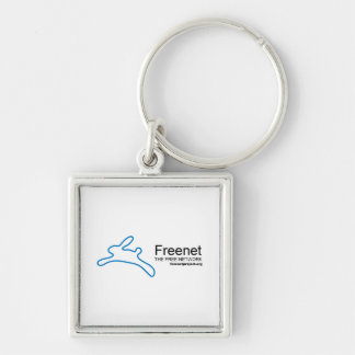 Freenet Bunny and Name Silver-Colored Square Keychain