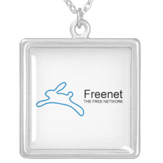 Freenet Bunny Text Square Pendant Necklace