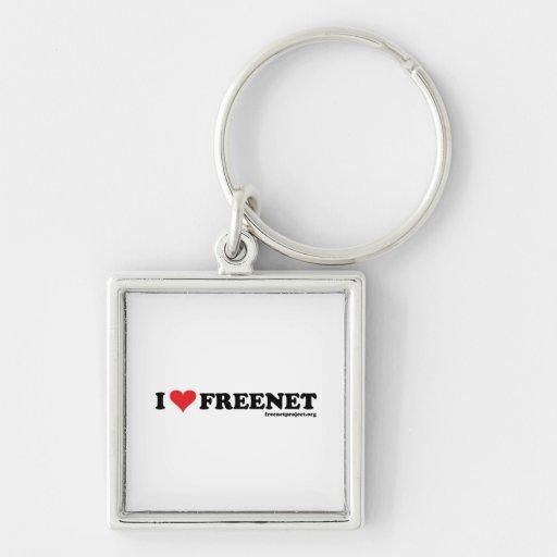 Freenet del corazón - De largo Llavero Cuadrado Plateado