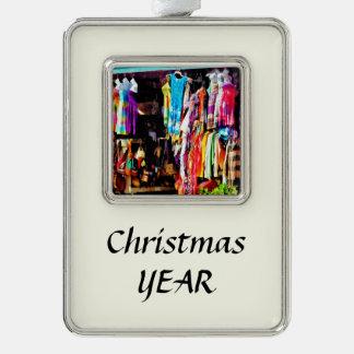 Freeport, Bahamas - Shopping At Port Lucaya Market Silver Plated Framed Ornament
