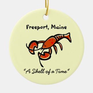 Freeport, Maine Lobster Double-Sided Ceramic Round Christmas Ornament