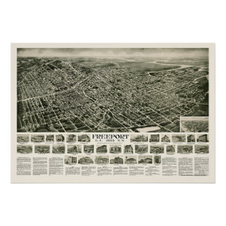 Freeport, NY Panoramic Map - 1925 Poster