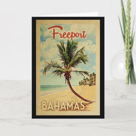 Freeport Palm Tree Vintage Travel Card