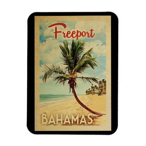 Freeport Palm Tree Vintage Travel Magnet