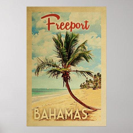 Freeport Palm Tree Vintage Travel Poster