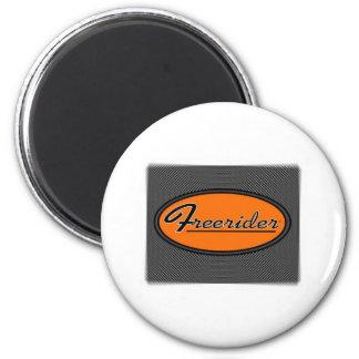 FREERIDER Orange on Chrome Magnet