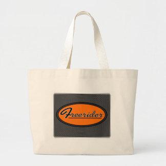 FREERIDER Orange on Chrome Tote Bags