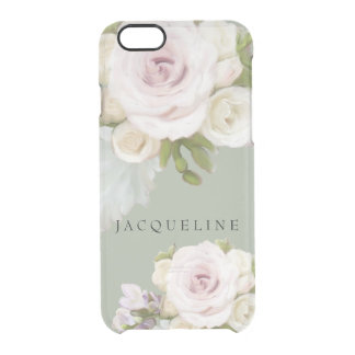 Freesia Roses n Succulent Painterly Floral Artwork Clear iPhone 6/6S Case