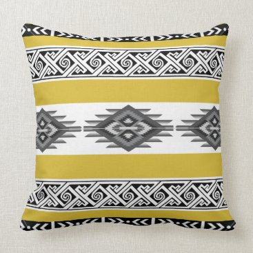 Aztec Themed Freesia Yellow Navajo Pillow
