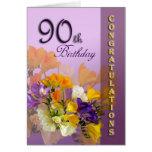 Freesias 90th Birthday Congratulations Greeting Cards
