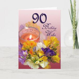 Freesias 90th Birthday Wishes Greeting Card