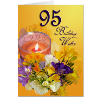 Freesias 95th Birthday Wishes Greeting Card