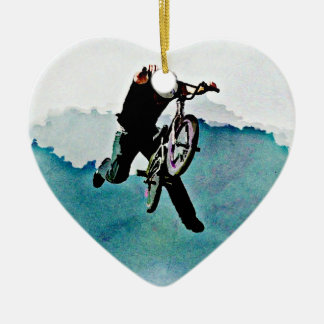 Freestyle BMX Bicycle Stunt Ceramic Ornament