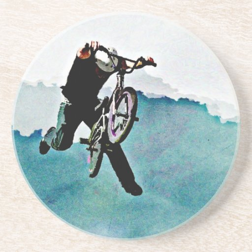 Freestyle BMX Bicycle Stunt Drink Coaster