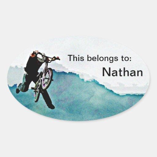 Freestyle BMX Bicycle Stunt Oval Sticker