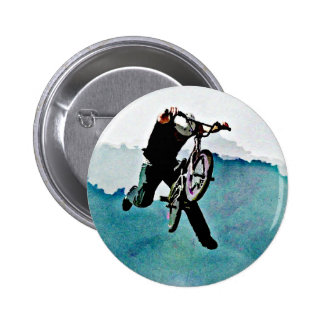 Freestyle BMX Bicycle Stunt Pinback Button
