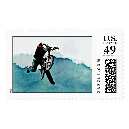 Freestyle BMX Bicycle Stunt Postage Stamps